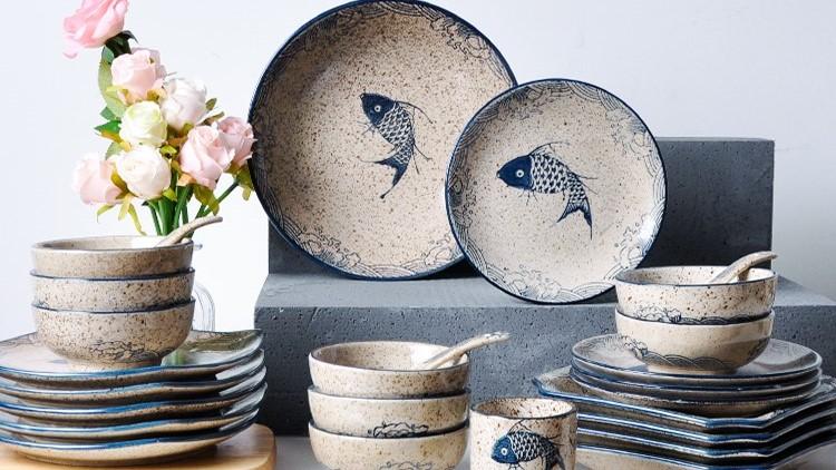 日式简约怀旧陶瓷餐具套装